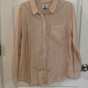 Pink Polka Dot Button Down Shirt